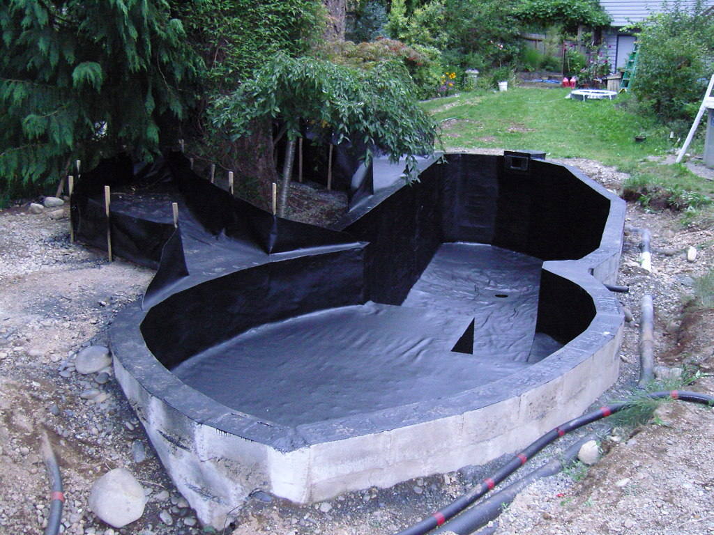 Spray line technologies sprayline technologies koi pond for Building a pond with liner